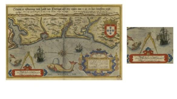 Detalle del portulano de Portugal con un mismo compás de puntas y su escala correspondiente (Atlas de Waghenaer, BDH)