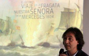 El arqueólogo submarino español Carlos León Amores expone los detalles del naufragio de la fragata Nuestra Señora de las Mercedes en 1804 frente a Panamá. Foto/EFE