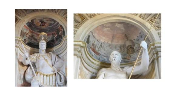 """Don Álvaro de Bazán representado como el dios Marte, y Don Álvaro  """"el viejo"""" de Neptuno (foto del autor)."""