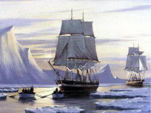 The Erebus and the Terror, the lost ships of the 1848 expedition of Sir John Franklin. Painting by J Franklin Wright / Ottawa Citizen